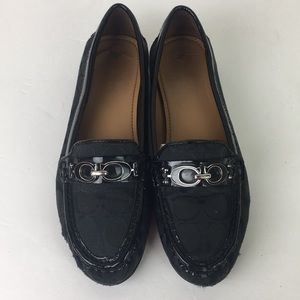 Coach Fortunata Black Signature Canvas Loafers 8